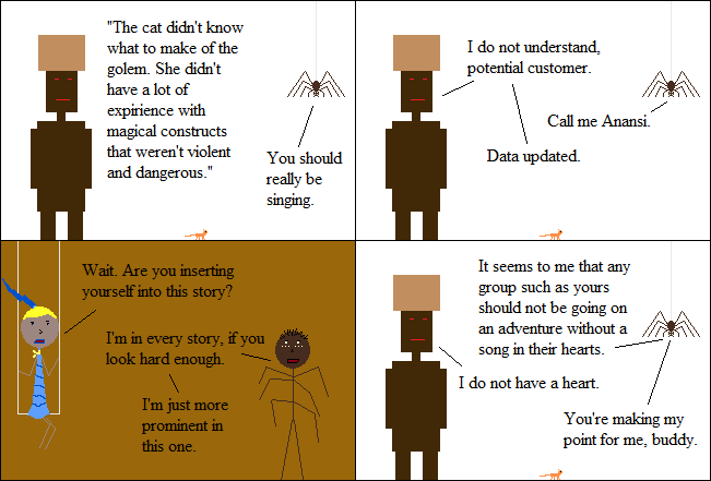 There are a lot of stories that would be ruined by looking for Anansi too hard.