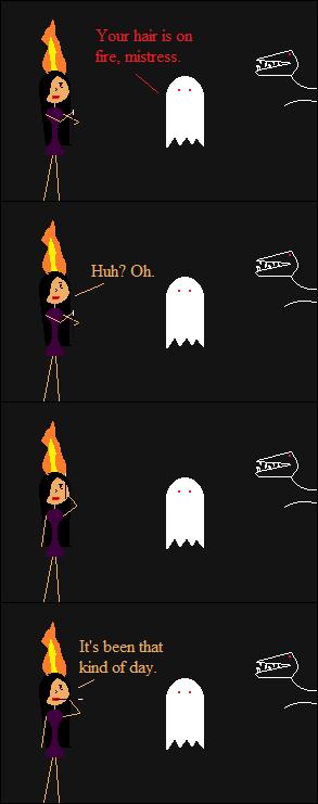 She's unfazed by the blaze.
